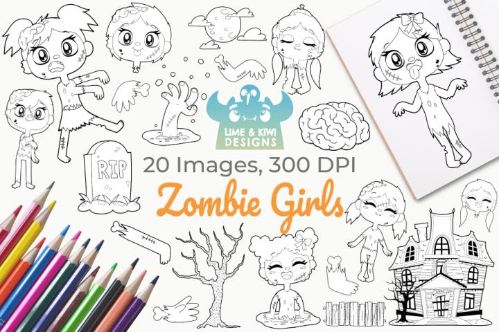 Zombie Girls Digital Stamps