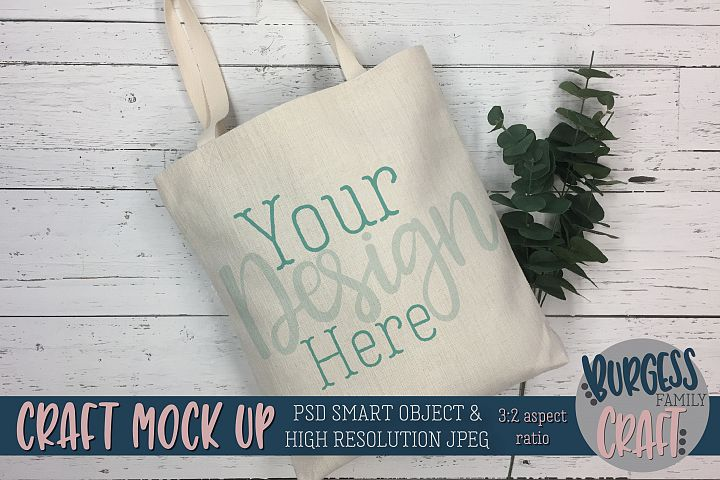 Tote bag leaf Craft mock up|PSD & JPEG