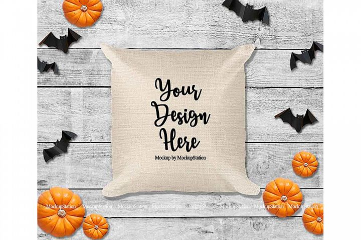 Halloween Beige Throw Pillow Mockup, Square Fall Cushion