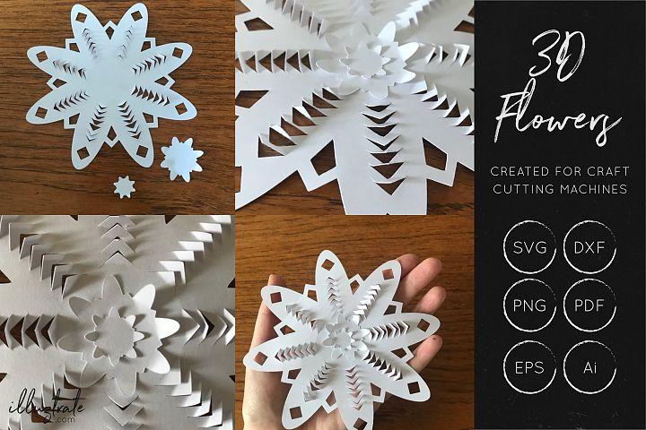 3D Flower SVG Cut Files - Flower SVG - Layered Flower DXF - Free Design of The Week Design 8
