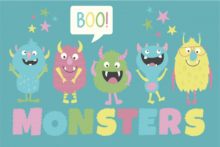 Monsters clipart and paper pack