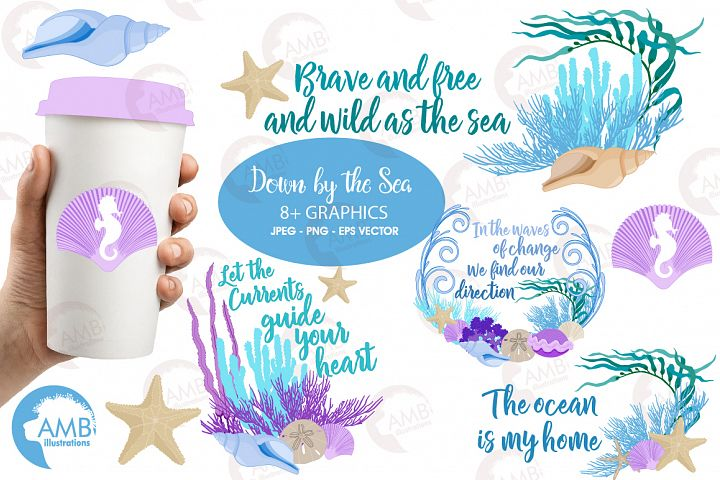Down by the sea clipart, graphics, illustrations AMB-2342
