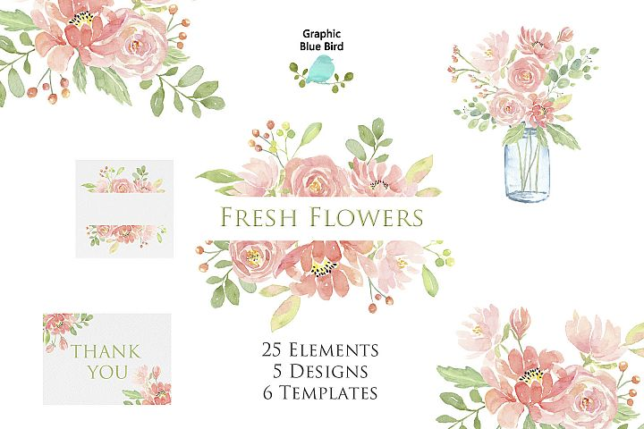 Fresh Flowers - Pink Watercolor Flowers, Elements and Frames