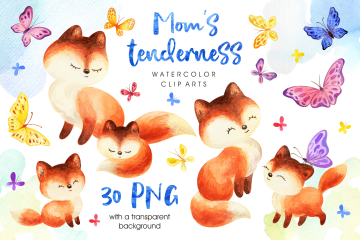 Moms tenderness. Watercolor foxes and butterflies