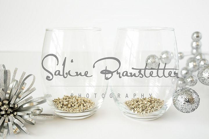 Styled Stock Photography Two Stemless Wine Glasses Mockup