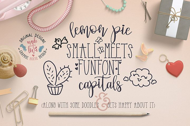 Lemon Pie Small and Funfont Capitals Font Duo with extra doodles
