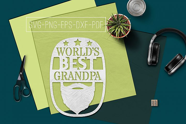 Worlds Best Grandpa Paper cut Template, Grandpa SVG, PDF