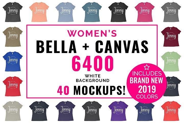 Bella Canvas 6400 Mockup Bundle, Womens T-Shirt, 40 Mockups