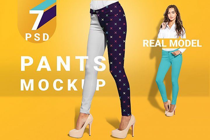 Womens pants mockup set