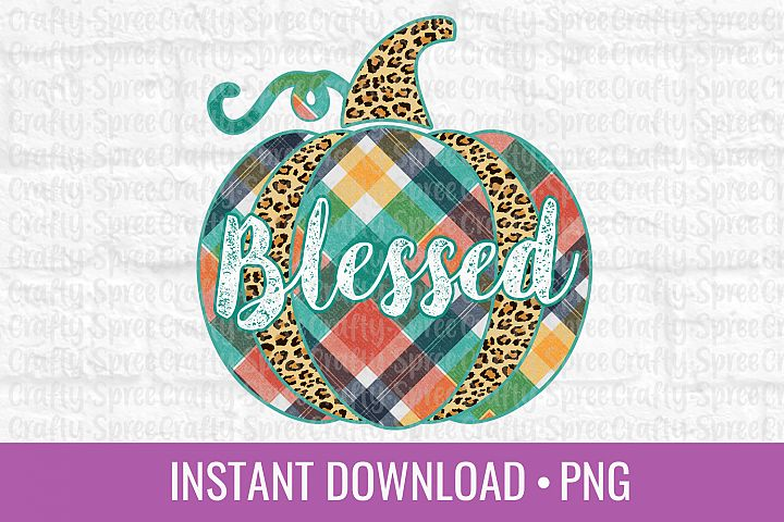 Blessed Pumpkin Leopard Print Plaid PNG Sublimation DTG Des
