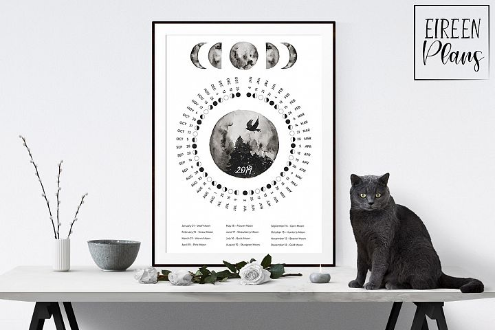 Printable 2019 Moon phases calendar with moon names
