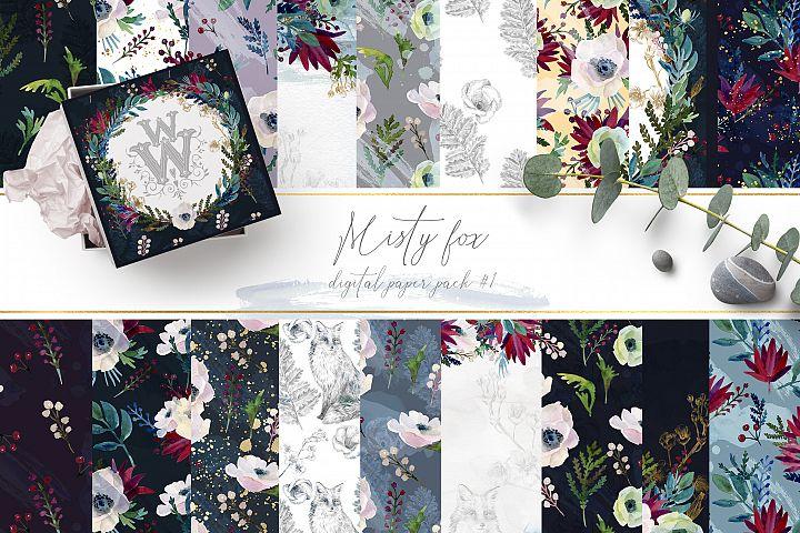 Watercolor floral backdrop, template seamles digital paper
