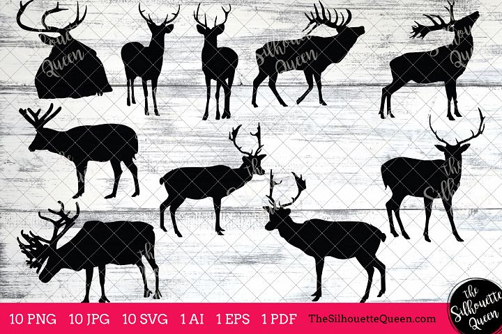 Elk Silhouettes Clipart Clip Art(AI, EPS, SVGs, JPGs, PNGs, PDF) , Elk Clip Art Clipart Vectors - Commercial and Personal Use