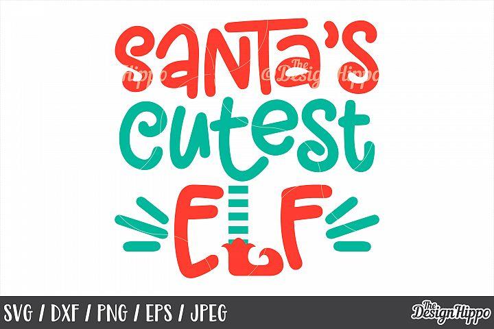 Kids, Christmas, Santas Cutest Elf, SVG, Elf Feet, PNG, DXF
