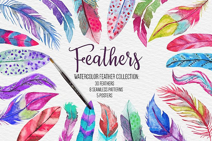 Watercolor Feathers Clipart, Pattern, Poster,Wedding Clipart