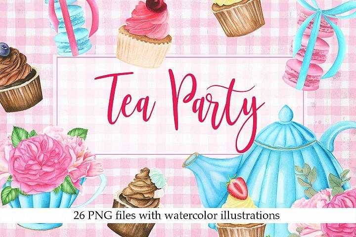 Watercolor Tea Party Clipart