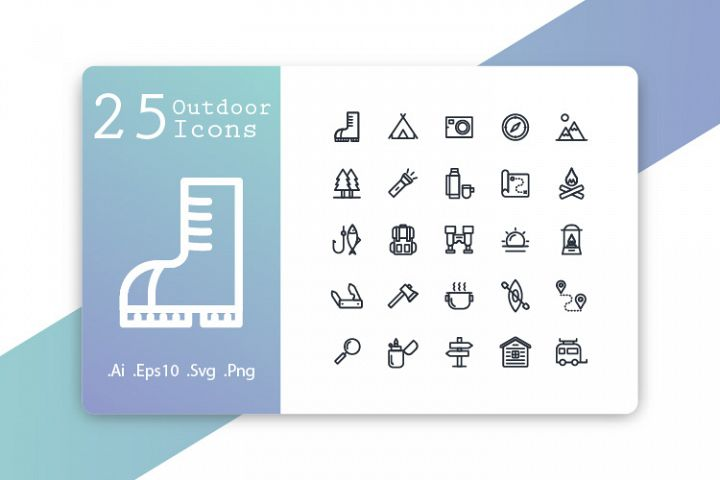 25 Outdoor Icons Line Design