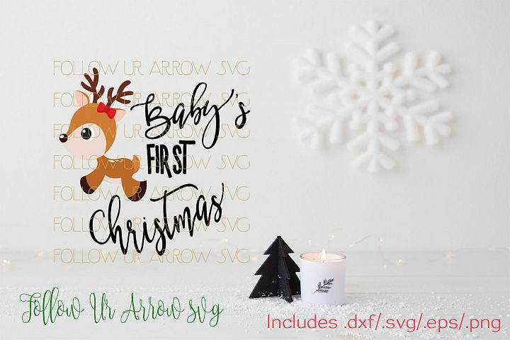 Babys First Christmas Girl and Boy Reindeer