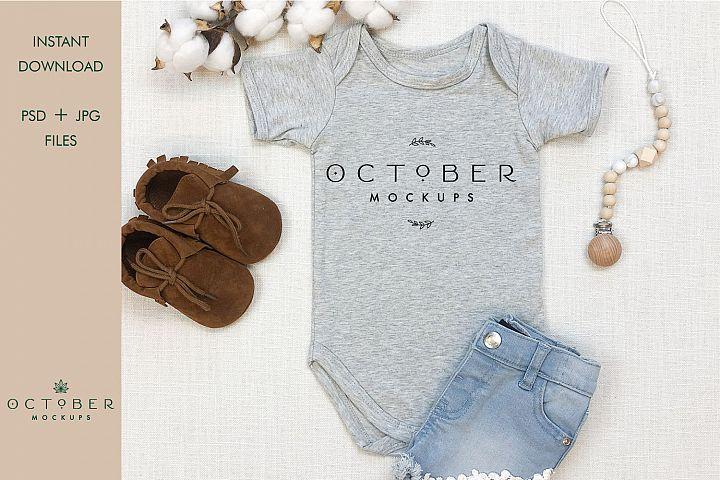 Baby Gray Bodysuit mockup   Shirt mockup   Sublimate blanks