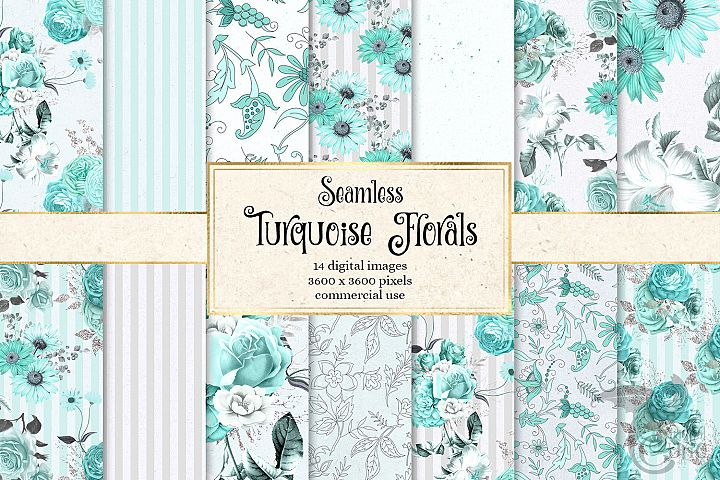 Turquoise Floral Digital Paper