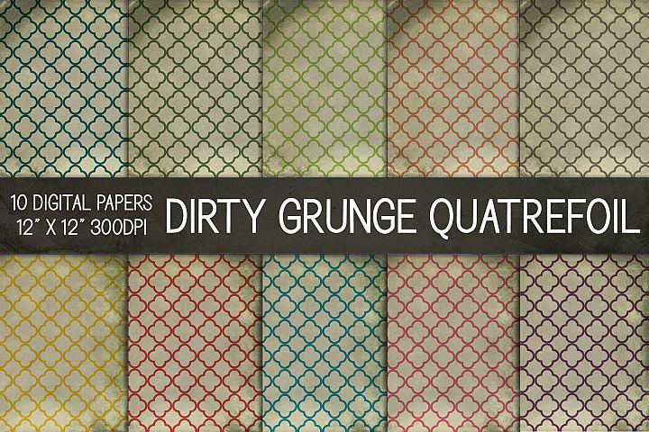 Dirty Grunge Quatrefoil Digital Papers, Grunge Texture Paper