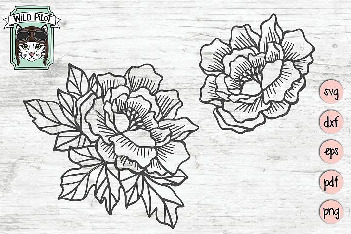 Flowers SVG File, Peony, Floral cut file, Flowers cut file