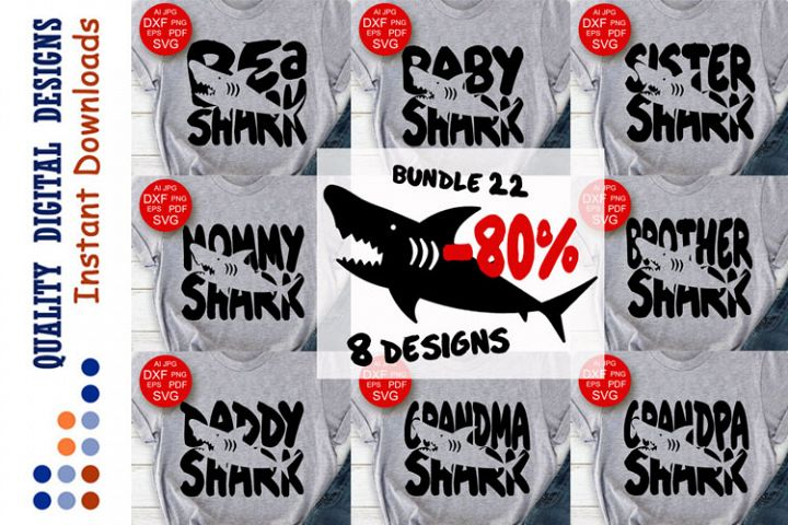 Bundle Family shirts SHARKS svg files
