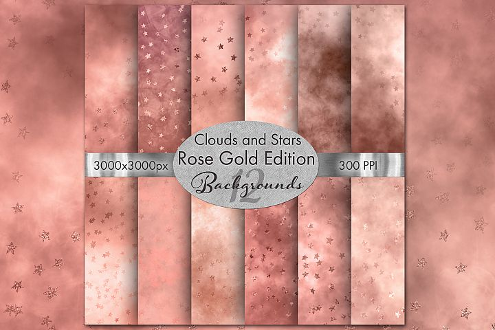 Clouds and Stars Rose Gold Edition Backgrounds - 12 Images
