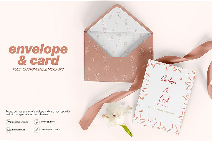 Envelope and Card Mockups - A5 Size