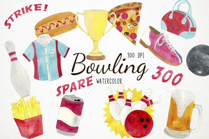 Watercolor Bowling Clipart, Pins Clipart, Sports Clipart