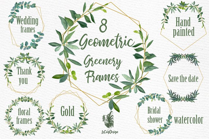 Geometric Frames Greenery clipart