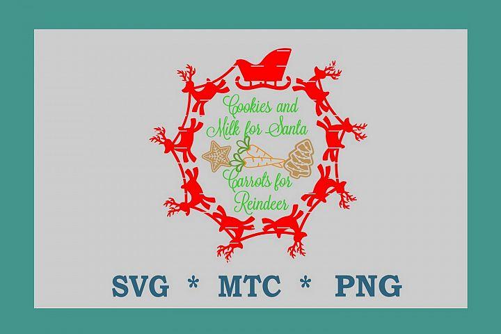 SVG Cookies 4 Santa Carrots 4 Reindeer #02 w/Sleigh Circle