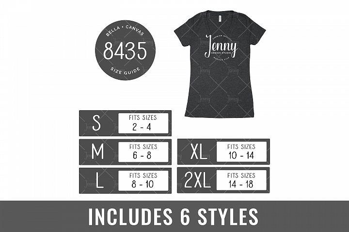 Bella Canvas 8435 Tshirt Size Chart Mockup