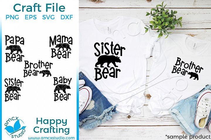 Bear Family Bundle Craft SVG