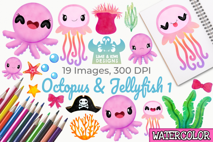 Octopus & Jellyfish 1 Watercolor Clipart, Instant Download