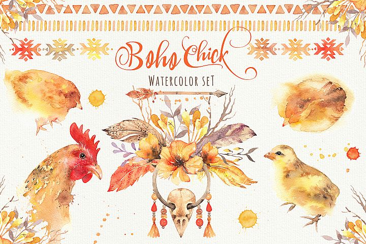 Boho Chick Watercolor Cliparts