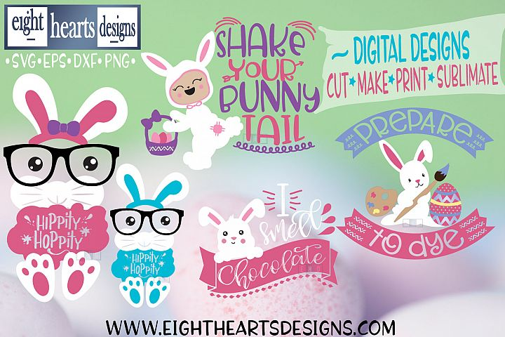 Mini Easter Bundle, 5 Designs SVG//PNG//DXF//EPS