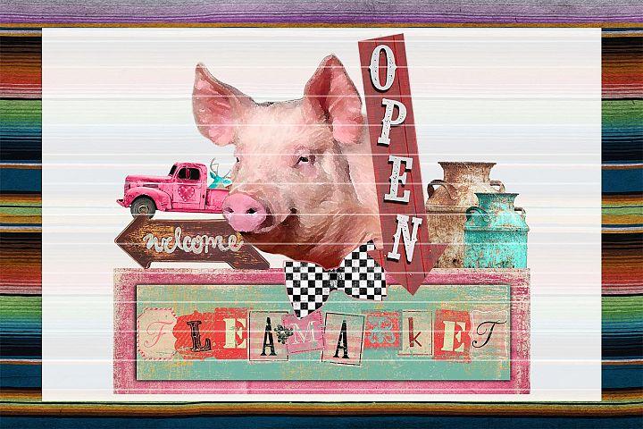 Piggy Fleamarket Sublimation Digital Download