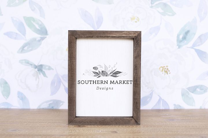 5x7 Wood Framed Sign Mock Up Styled Photography