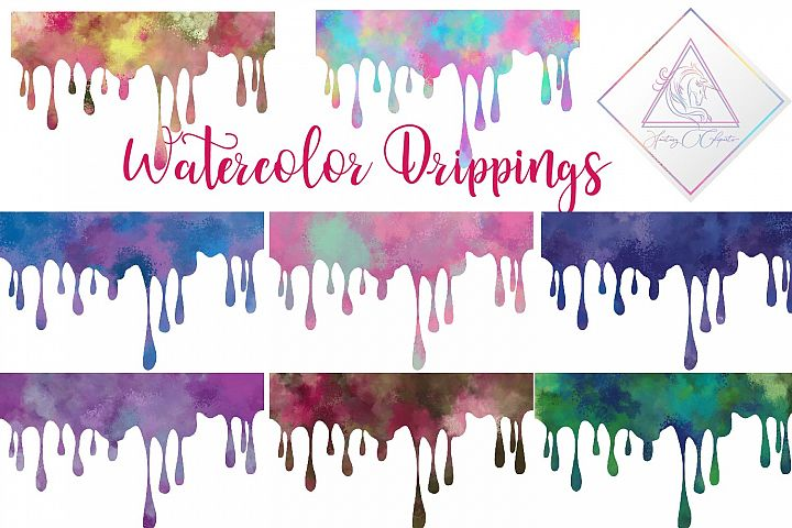 Watercolor Drippings Clipart