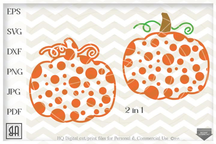 Polka dot pumpkin Svg, Thanksgiven pumpkin Svg, Pumpkin svg