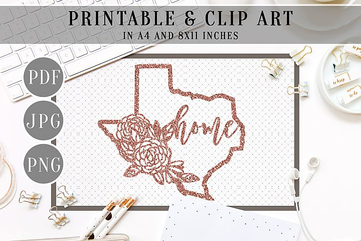 Rose Gold litter Texas Map Printable, Clip Art, Home Decor