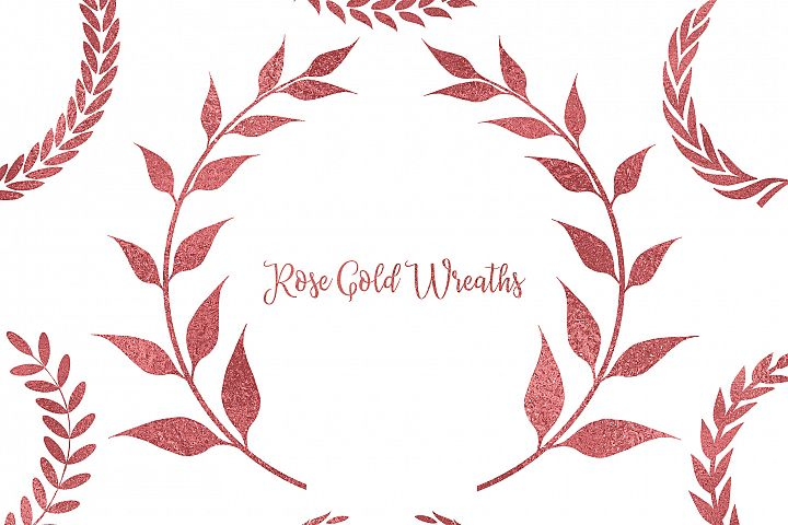 Rose Gold Wreaths Clipart, Rose Gold Frame Clipart