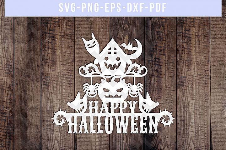Happy Halloween Papercut Template, Boo Cardmaking, SVG, PDF