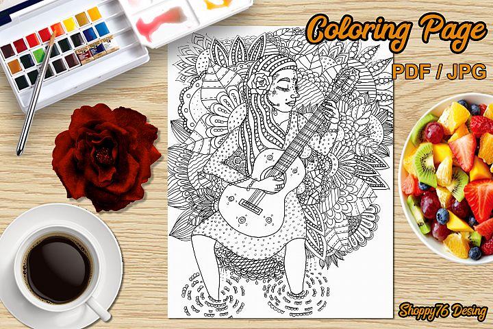 My inner music - Printable coloring page - Digital Stamp