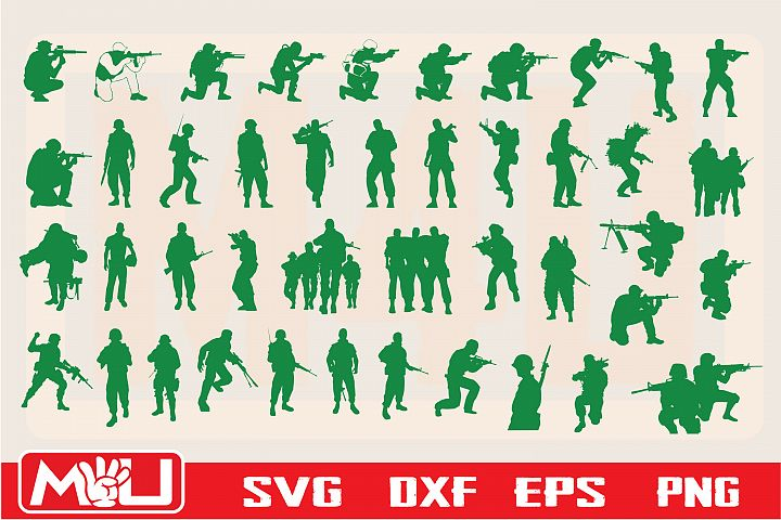 Soldier Svg, Clipart, Printable, Silhouette and Cut file.