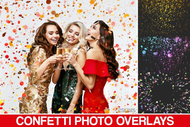 35 Confetti Photo overlays, Realistic falling Confetti, Png
