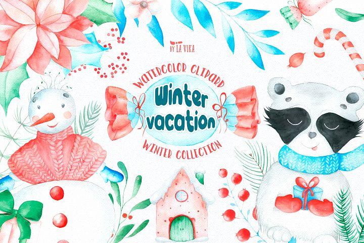 Watercolor Winter Clipart - Winter vacation