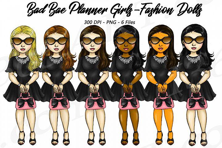 Bad Bae Planner Girls Clipart, Black Dress, Fashion Dolls