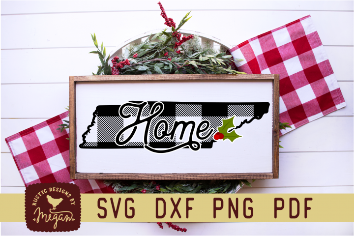 Tennessee Buffalo Plaid State Home SVG DXF Cut File
